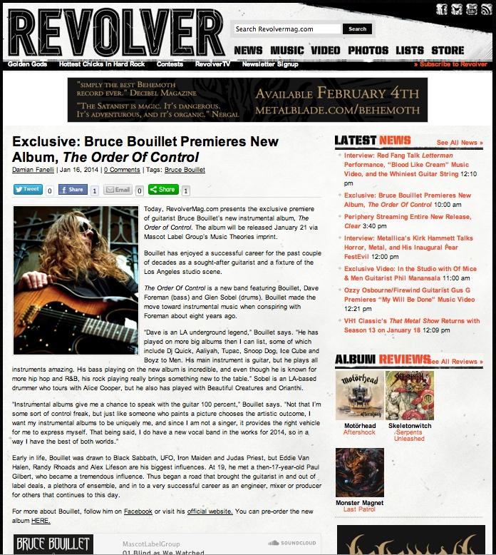 Revolver webzine Bruce Bouillet The Order Of Control